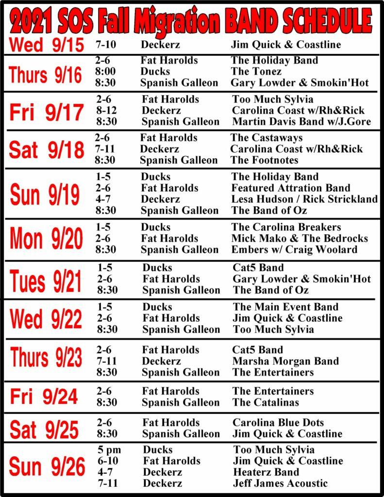 sos bands schedule